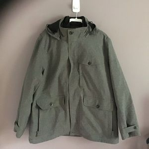 L.L.Bean Gray Full Zip Hooded Winter Jacket XXL